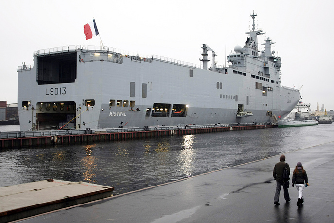 The Mistral class is a class of three amphibious assault ships, also known as a helicopter carrier, of the French Navy