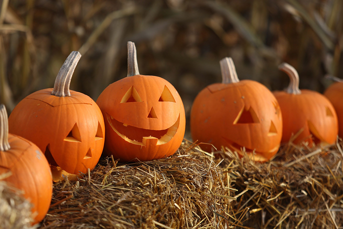 Halloween traditionally falls on 31 October. Photo: Happy pumpkin faces are being offered as part of the Halloween sale in Powsin, Poland, 30 October 2014