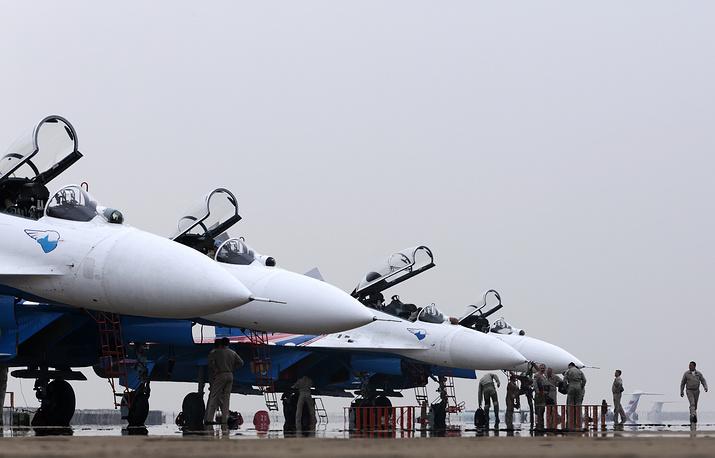 Photo: The Russkiye Vityazi (Russian Knights) aerobatic team seen at Airshow China 2014