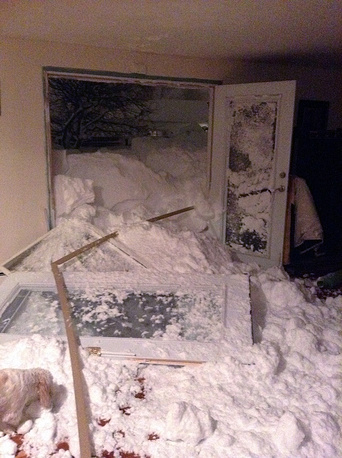 Photo: Snow blown in the back door of a house in Cheektowaga, N.Y.