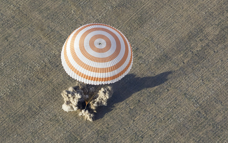 After the US Space Shuttle program ended in 2011, Soyuz rockets became the only provider of transport for astronauts at the International Space Station. Photo: A Russian Soyuz capsule with the ISS crew landing near the town of Arkalyk in northern Kazakhstan, 2012