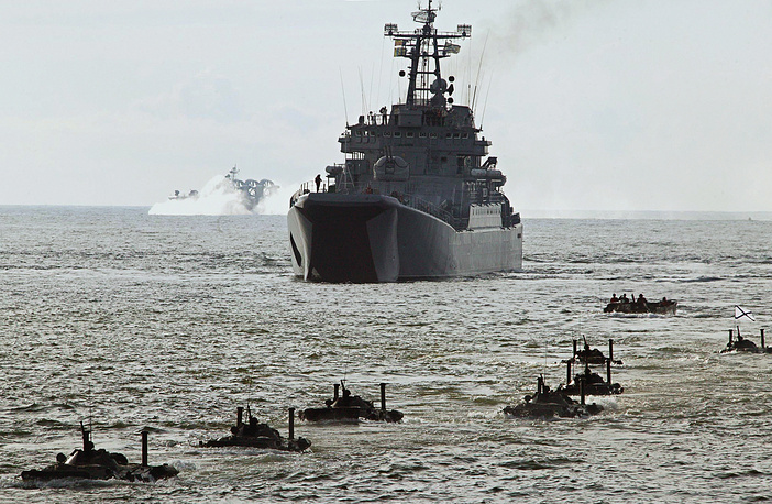 Since that time Russian marines has fought in numerous wars including World War I and II. Photo: Amphibious vehicles participate in Russia's Baltic Fleet exercises on the Baltic Sea coast