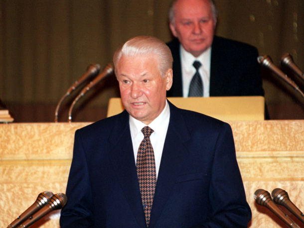 In February 1997, Yeltsin spoke about Russia's problems including corruption, salary and pension delays and the necessity to establish law and order in the country