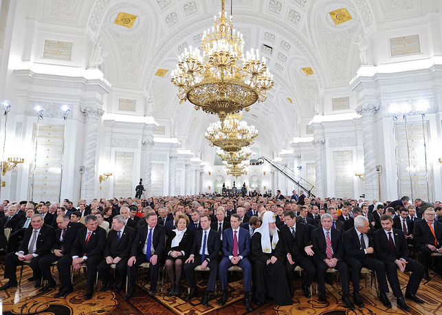 Putin highlighted the importance to fight capital outflow, develop the local self-government system and protect Russia's traditional values. The address lasted for one hour and eight minutes