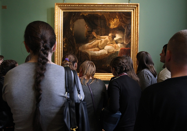 Hermitage museum has collection of 24 paintings by Rembrandt, including his famous masterpiece Danae. In 1985   Rembrandt's work was seriously damaged. A man later judged insane threw sulfuric acid on the canvas and cut it twice with his knife. Painting was restored in 1997 and Danaë is now on display behind armoured glass