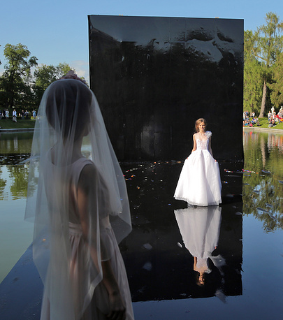 A theatrical fashion show staged at the Tsarskoye Selo park near St.Petersburg