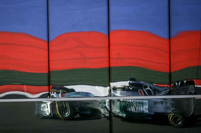 Mercedes racer Lewis Hamilton takes part in the first Russian Formula 1 Grand Prix in Sochi