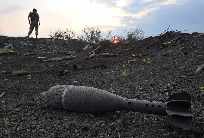 A shell at the Dolzhansky checkpoint on the Ukrainian-Russian  border seized by the Lugansk militia