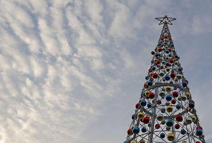 An iron Christmas tree outside of Green trees company office in Moscow, Russia