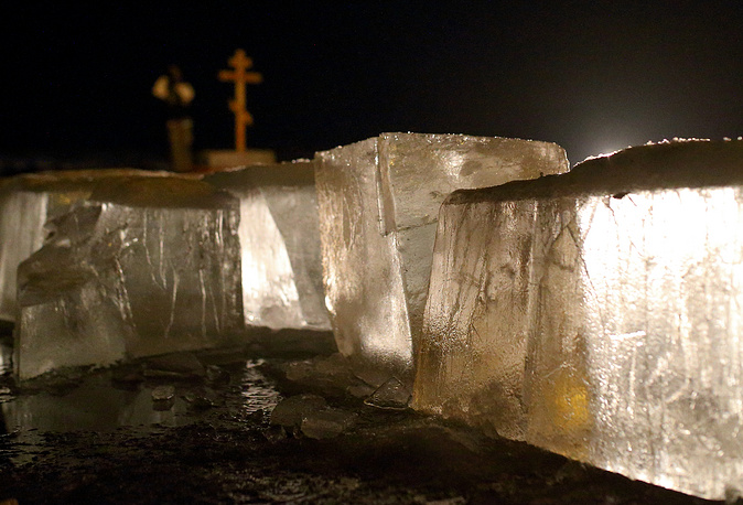 Ice seen on a lake during celebrations of the Orthodox Epiphany in Ryazan region, Russia