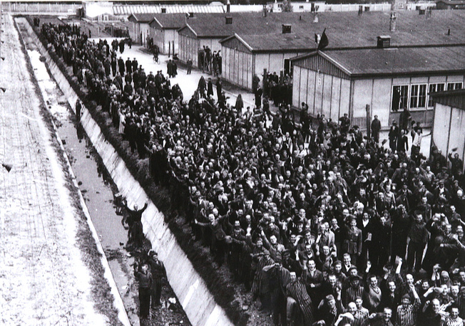 Prisoners in the Dachau concentration camp after it was liberated by US troops in 1945