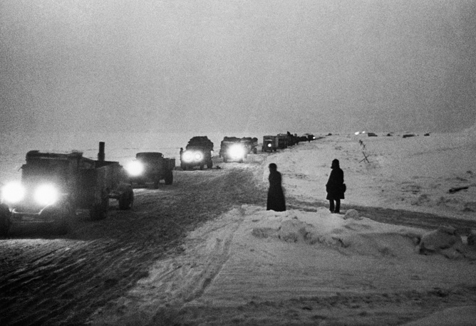 Trucks on the ice road across the frozen Lake Ladoga. This route, called Road of Life provided the only access to the besieged city of Leningrad
