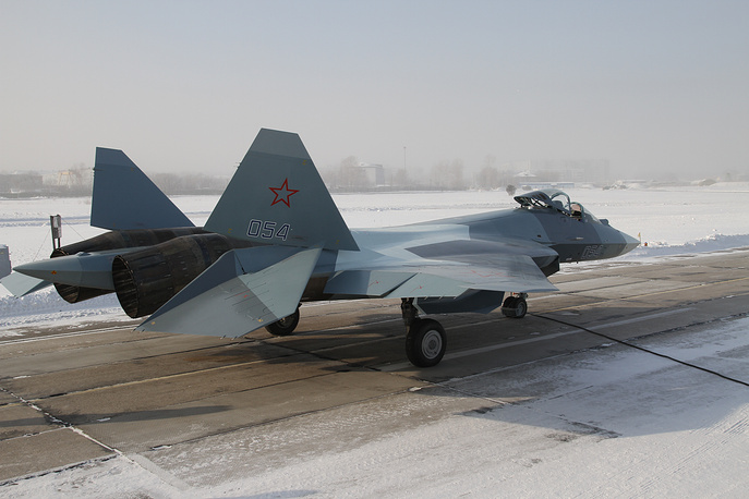 A Sukhoi PAK FA (T-50) before a take off