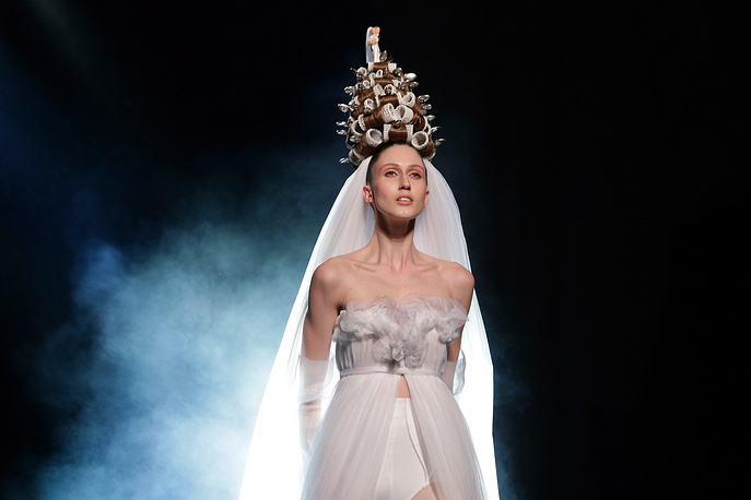 A model walks the runway during Jean-Paul Gaultier's fashion show