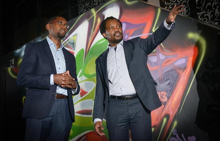 Dr. Solomon Assefa (left) and Wits University Professor Zeblon Vilakazi at site of IBM's new South Africa research lab in Braamfontein, Johannesburg