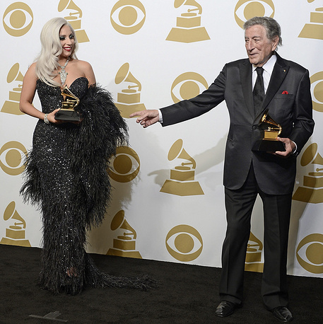 Lady Gaga and Tony Bennett with the awards for 'Best Traditional Pop Vocal Album'