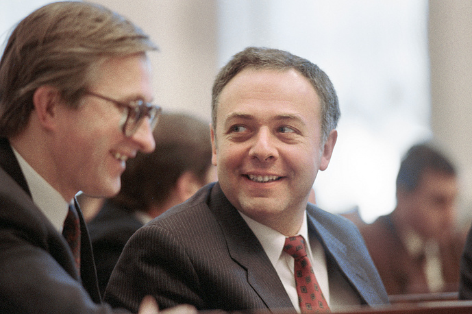 As Russia's foreign minister Andrei Kozyrev emphasized cooperation over conflict with the United States. Kozyrev's position in relations with West earned him the title of Mr. Yes. Photo: Andrei Kozyrev (right), 1992