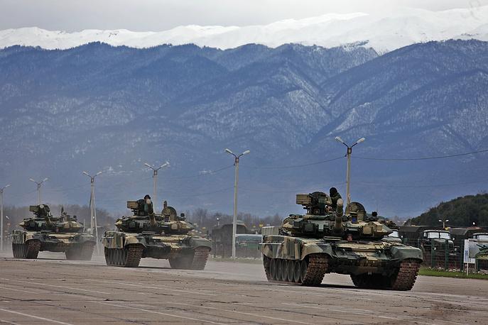 Military vehicles at Russia's 7th military base in Gudauta, Abkhazia