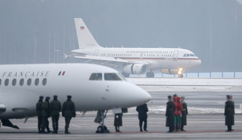 Jets of German Chancellor Angela Merkel and French President Francois Hollande arriving in Minsk, Belarus