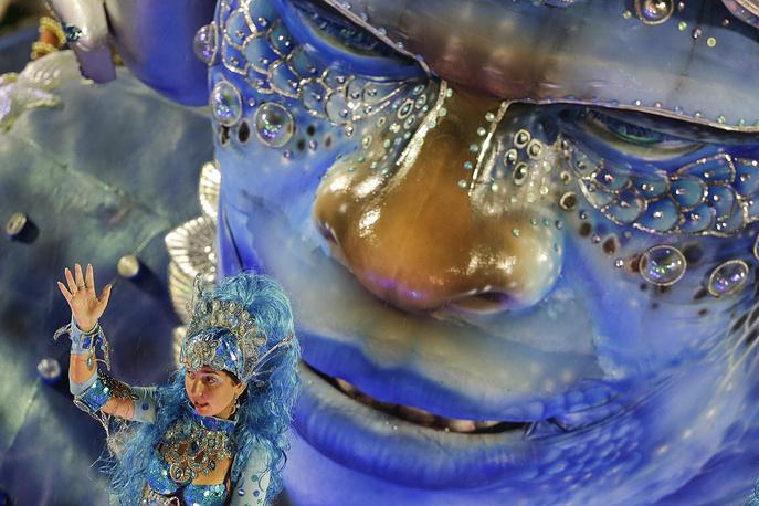 Viradouro samba school float during the Carnival parade in Rio de Janeiro