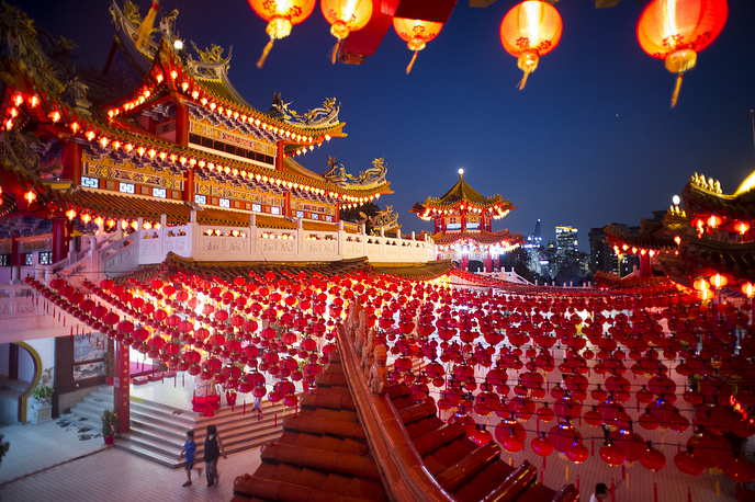Traditional Chinese lantern decorations at a temple in Kuala Lumpur, Malaysia