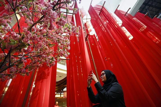 Lunar New Year decorations at a shopping mall in Kuala Lumpur, Malaysia