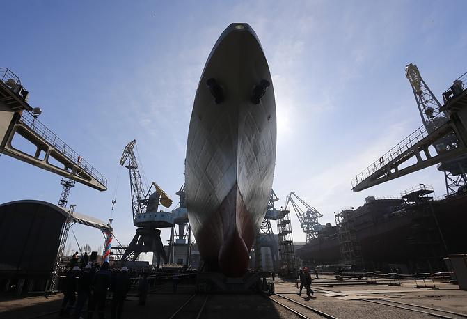 "Admiral Grigorovich-class frigate at ""Yantar"" shipyard in Kaliningrad"