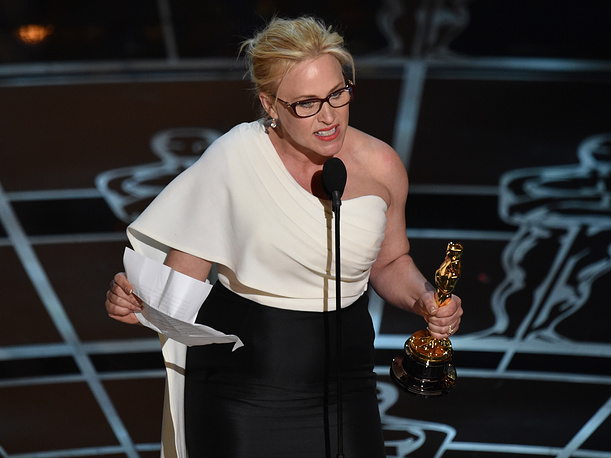 "Patricia Arquette received the award for best actress in a supporting role for ""Boyhood"""