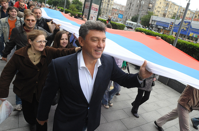 Photo: Boris Nemtsov at the rally of Solidarity movement