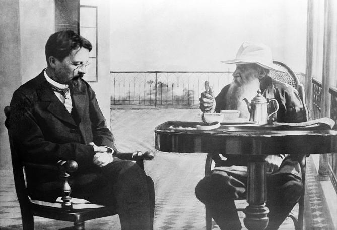 Anton Chekhov (1860-1904) and Leo Tolstoy (1828-1910) in Crimea, 1901