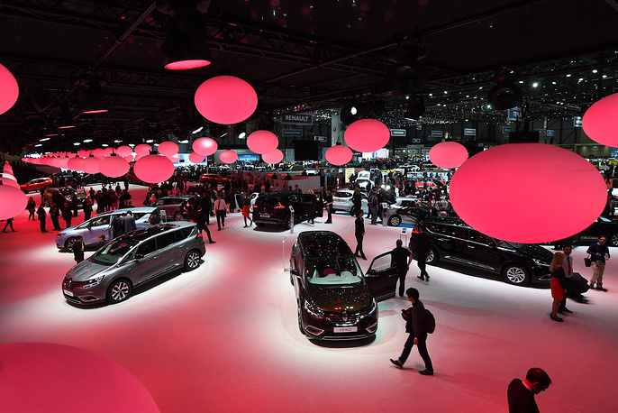 A general view over the Renault hall at the 85th Geneva International Motor Show