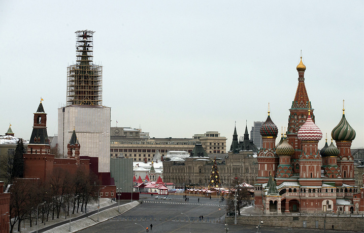 Spasskaya Tower on the renovation and surrounded by scaffolding