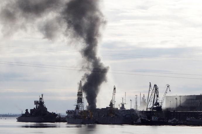 Smoke rises over the shipyard in Russia's Severodvinsk