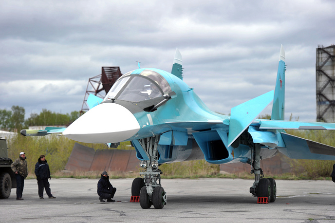 Su-34 is a Russian twin-engine, twin-seat strike fighter