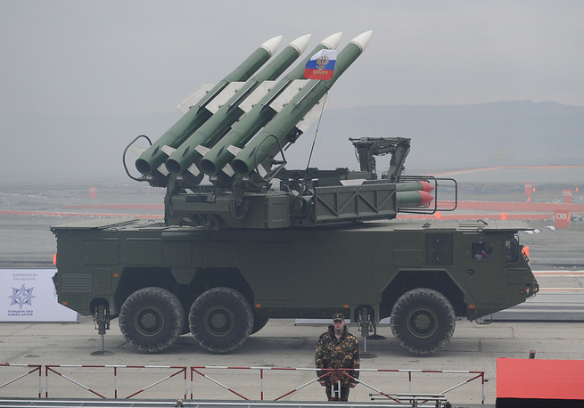 Buk missile system is a family of self-propelled, medium-range surface-to-air missile systems. Photo: Buk-M2E on display at RAE Russia Arms Expo 2013