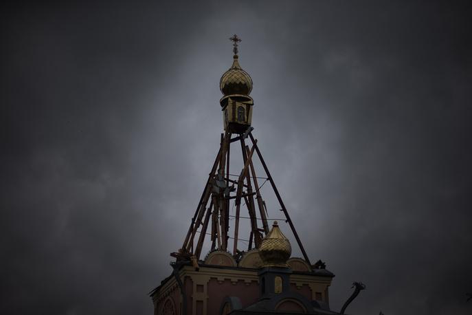A church damaged in a shelling attack in Krasnodon village, Luhansk region, July 2014
