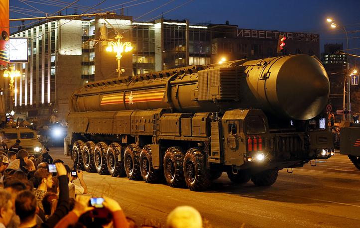 A Russian strategic ballistic missile Topol-M launching vehicle