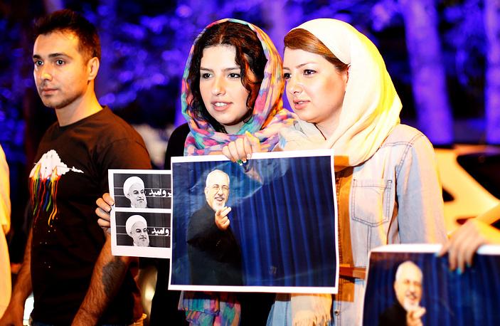 Citizens celebrate the nuclear deal in Tehran