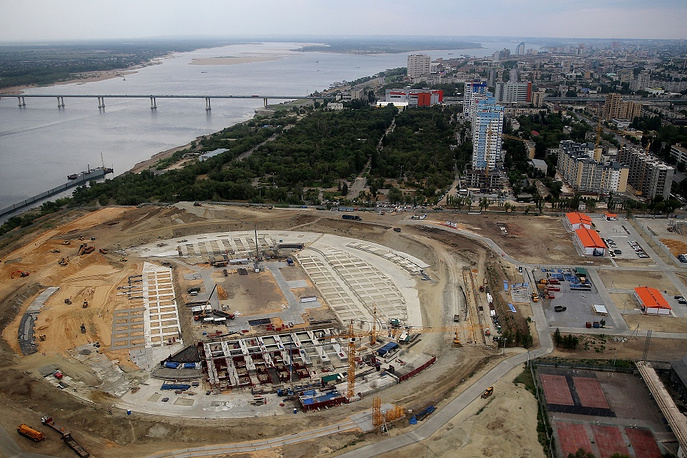 Stadium in Volgograd is being built on the site of the dismantled Central Stadium between Mamayev Kurgan and the right bank of the Volga river