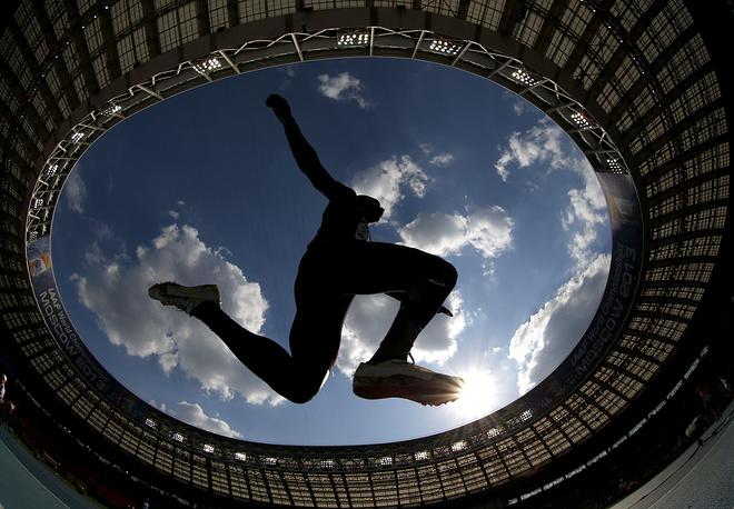 Men's triple jump final at the World Athletics Championships in the Luzhniki stadium, 2013
