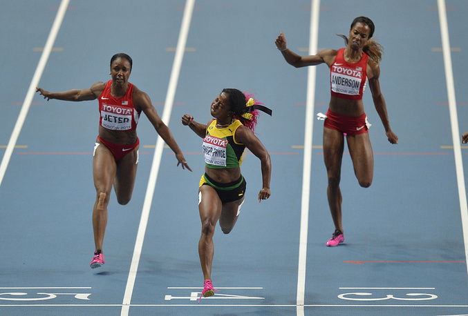 Women's 100-meter final at the World Athletics Championships in the Luzhniki stadium, 2013