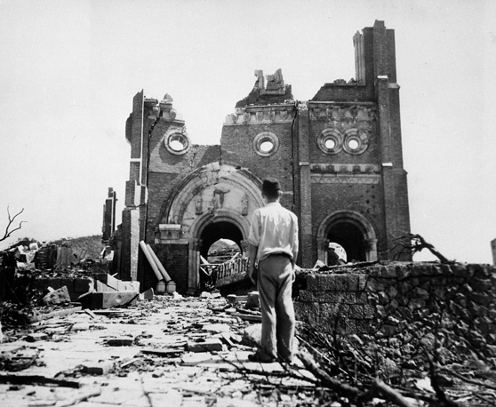 The explosion instantly killed an estimated 70,000 to 100,000 people. Photo: The Urakami Catholic Cathedral in Nagasaki, seen Sept. 13, 1945, is laid waste in the aftermath of the detonation of the atom bomb over a month ago over this city
