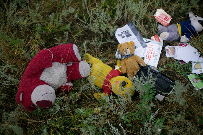 The debris of the airliner were spread over a 50 square kilometres. Photo: Toys scattered at the MH17 crash site