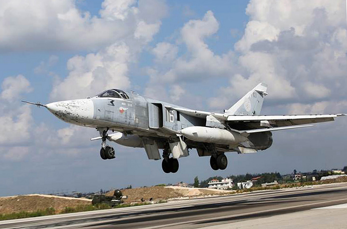 Su 24M jet taking off from the Hmeymim airbase