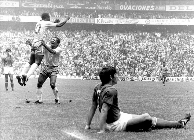Brazil's Pele, number 10, jumping for joy after scoring Brazil's first goal in the Azteca Stadium, Mexico City, 1970, in the first half of the World Cup Final 1970