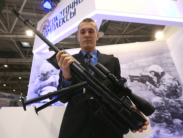 OSV-96 sniper rifle on display at the opening of the Interpolitex 2015 International exhibition