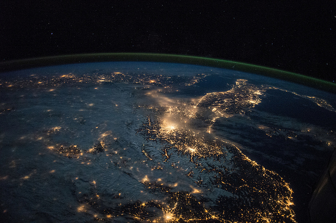 Earth observation taken during a night pass of Spain and Italy by the Expedition 43 crew aboard the International Space Station, March 28, 2015