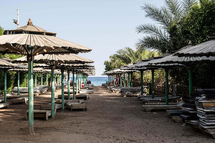 An empty public beach is seen in Namaa Bay, Sharm el-Sheikh, Egypt