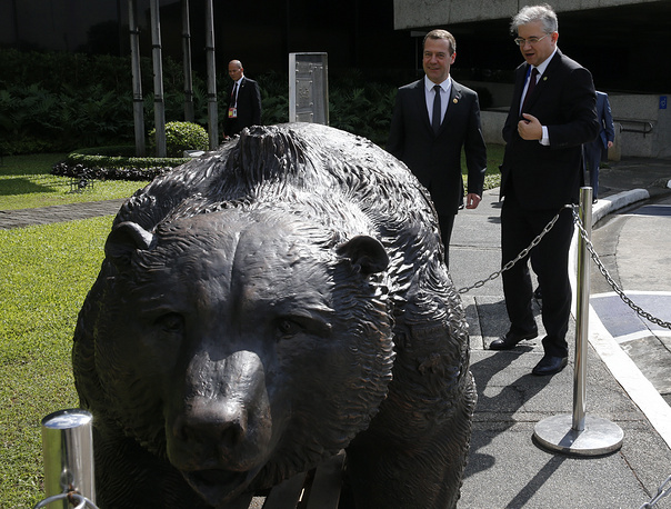 Russia's Prime Minister Dmitry Medvedev seen during presentation of a 530-kilogramme bronze sculpture of a bear to the Philippines