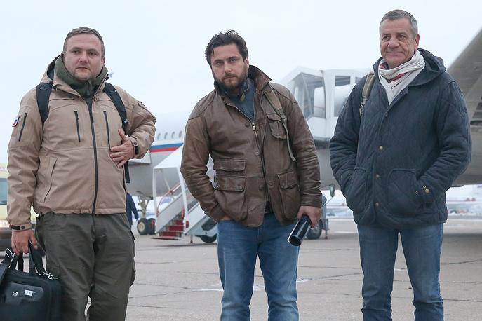 RT reporters Roman Kosarev, Sargon Hadaya and TASS correspondent Alexander Yelistratov